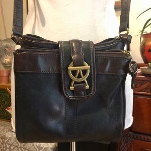 Tignanello Two tone black leather Crossbody bag